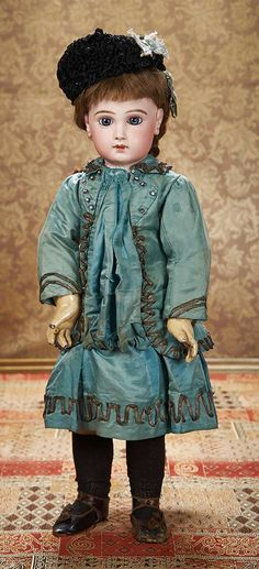 """Beautiful French Bisque Bebe E.J.,Size 11,in Original Couturier Costume 23"""""""