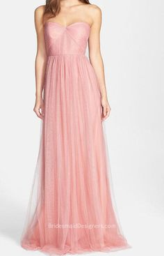 beautiful pink strapless sweetheart long pink tulle bridesmaid dress