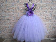 TUTU Dress, SPRING LILACS, Elastic, Crochet-style Bodice, 20 Inch Tulle Skirt, For Toddler Girls, 1-4.