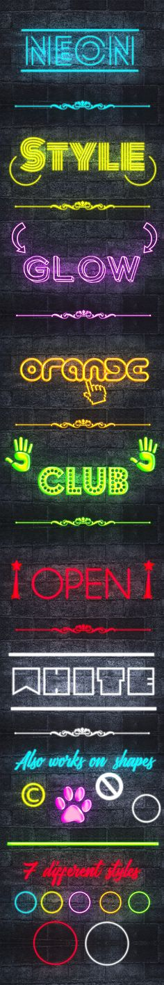 Neon Text Styles for Photoshop #design Download: http://graphicriver.net/item/neon-text-styles-v2/13046977?ref=ksioks