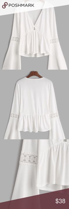 White V Neck Bell Sleeve Crochet Insert Top Gorgeous White V Neck Bell Sleeve Crochet Insert Top One size. Plz See #4 photo for dimensions! Thx boutique Tops Blouses