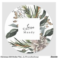 Shop Christmas Gift Sticker Vintage Floral Holiday created by PhrosneRasDesign. Holiday Gift Tags, Holiday Photo Cards, Holiday Photos, Christmas Holidays, Christmas Gifts, Christmas Chalkboard, Christmas Stickers, Holiday Festival, Vintage Floral