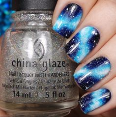 Dark blue nails, Exquisite nails, Extraordinary nails, Galaxy nails, Iridescent nails, Nails with stars, Night nails, Original nails