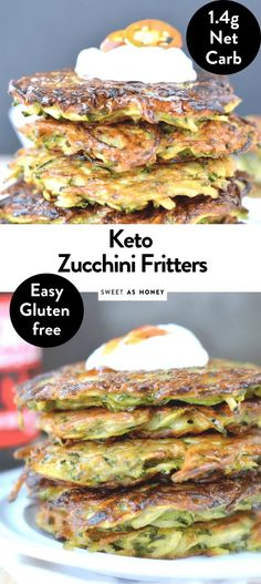 Keto zucchini fritters are easy cheesy, crispy almond flour zucchini fritters. A gluten free crispy fritter recipe with only 2.7 g net carbs. Paleo Zucchini Fritters, Veggie Fritters, Coconut Flour Nutrition Facts, Zucchini Keto Recipe, Low Carb Recipes, Vegetarian Recipes, Almond Flour Recipes, Keto Cheese, Keto Side Dishes