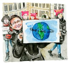 Jessie Kanelos Weiner at https://thefrancofly.com shares watercolor reportage from the Women's March in Paris.