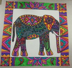 Original Pin: Elephant art - fourth grade Indian Elephant Art, Elephant Outline, Art Indien, 6th Grade Art, Fourth Grade, Elefante Hindu, Square 1 Art, Animal Art Projects, India Art