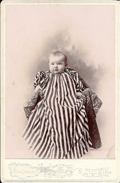 baby in stripes ~ cabinet card