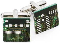 circuit board cufflinks.