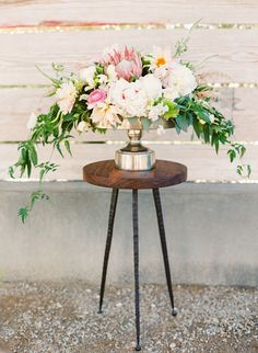 Modern Summer Wedding Centerpiece with Peonies and Protea | Jodi Miller Photography | http://heyweddinglady.com/socal-chic-modern-ranch-wedding/