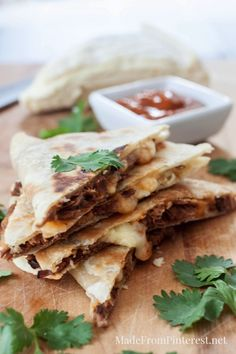 Brie and Brisket with Mango BBQ Sauce Quesadillas - can not get enough of these!