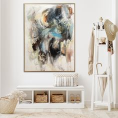 Colorful Oil Painting Canvas Original Large Wall Art Abstract Oil Artwork Colorful Hand Painted Modern Art Painting | WALK BY THE LAKE - 72x54 | 183x137 cm / Stretched + Matt or Glossy Black frame