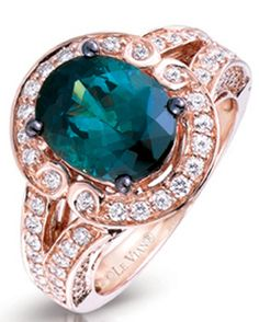 Levian-web-Apr.2013,rose gold ring set forest green diamonds and white diamonds