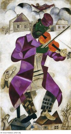 The Green Violinist by Marc Chagall Size: 198x108.6 cm Medium: oil on canvas