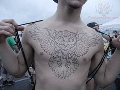 traditional owl chest piece tattoo - Google Search