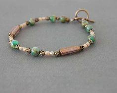 Beaded Glass Bracelet Brass Bracelet Toggle by NancyKayCreations