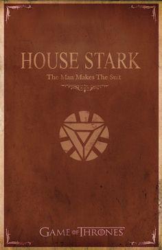 Minimalist Game of Thrones/Iron Man poster - House Stark