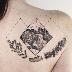 Snoqualmie Falls, framed in the Twin Peaks' owl cave symbol with conifers and the log lady's log. #tattoo