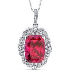 Women's Sterling Silver Vintage 9.0 Carat Cushion Ruby Pendant w/ Box Chain