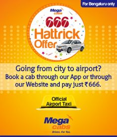 Mega Cabs Bangalore city Airport drop offer