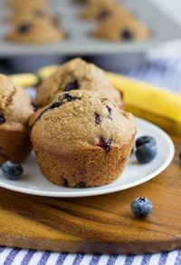 Flourless Blueberry Banana Muffins are a wholesome treat to enjoy for breakfast or a snack. They�re made easy in a blender and are gluten-free, oil-free, dairy-free and refined sugar-free! #cleaneating