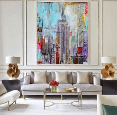Hand Painted Modern Abstract Oil Painting On Canvas Tall Building Art Picture Wall Art For Living Room Home Decoration Pictures. Category: Home & Garden. Subcategory: Home Decor. Large Painting, Oil Painting Abstract, Painting Canvas, Decorating With Pictures, Decoration Pictures, Building Art, Living Room Art, Oeuvre D'art, Art Pictures