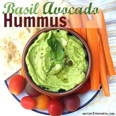 This Basil Avocado Hummus recipe will result in the creamiest homemade hummus you'll ever make! The secret for store-bought creamy hummus is stupid-simple. Clean Eating Recipes, Raw Food Recipes, Appetizer Recipes, Appetizers, Cooking Recipes, Herb Recipes, Pesto, Garbanzo Bean Recipes, Sauces