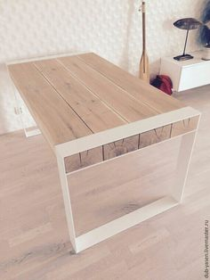 Solid oak and stainless steel dining table. Contemporary design by Poppyworkspl - Steel Dining Table, Dinning Table, Wood Table, Steel Furniture, Diy Furniture, Furniture Design, Furniture Plans, Handmade Home Decor, Wood Design