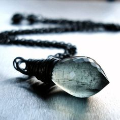 Moss Aquamarine Necklace, Sage Green Faceted Gemstone Oxidized Sterling Silver Wire Wrapped - Selkie - $75