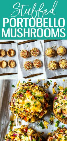 ThisStuffed Portobello Mushrooms recipe is the BEST EVER way to stuff mushrooms! With shredded chicken breadcrumbs cheese and red peppers this will become your go-to method. Good Healthy Recipes, Vegetable Recipes, Whole Food Recipes, Vegetarian Recipes, Dinner Recipes, Cooking Recipes, Vegetarian Barbecue, Barbecue Recipes, Vegetarian Cooking