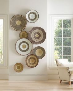 Six Home Decor Trends to Watch in 2020 A favorite decorating trend of 2020 is woven home decor like rattan and cane furniture & accessories! Home Decor Baskets, Baskets On Wall, Wall Basket, Hanging Basket, Large Baskets, Room Wall Decor, Diy Wall Decor, Driven By Decor, Transitional Decor