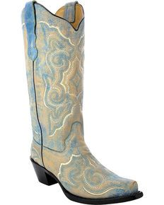 Corral Womens Distressed Leather Embroidered Cowgirl Boots - Snip Toe , Turquoise