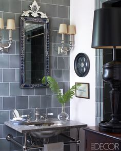 Grey vintage bathroom