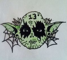 Black metal yoda with plugs, friday the 13th tattoo design for guys and girls