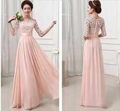 Bigood 3/4 Arm Damen Elegante Abendkleider Maxikleid L Pink