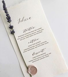 Letterpress menu on handmade paper with Plume calligraphy, monogram wax seal, and a sprig of Napa Valley lavender for a wedding with Jesse Tombs of Alison Events. Wedding Cards, Wedding Events, Wedding Catering, Wedding Gowns, Catering Menu, Wax Seal Stamp, Wedding Stationary, Lavender Wedding Invitations, Elegant Invitations
