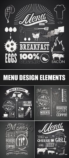 Vintage Menu Design Elements Vector