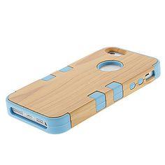 EUR € 6.43 - Wood Grain Muovi ja silikoni kolme-in-one takakannen iPhone 5/5S (valikoituja väri) vapaa laivaliikenteen kaikki gadgetit!