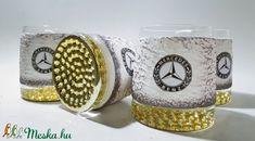 Mercedes rajongóknak különleges formájú whiskys üveg 4 db pohárral, egyedi darab évfordulóra, szülinapra, névnapra (Biborvarazs) - Meska.hu Mugs, Tableware, Dinnerware, Tumblers, Tablewares, Mug, Dishes, Place Settings, Cups