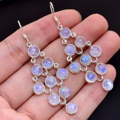925 Sterling Silver Natural Rainbow Moonstone Gemstone Dangle Earrings Jewelry #Handmade #DropDangle #SterlingSilverEarrings