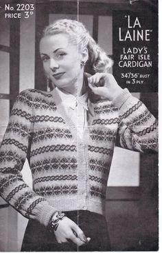 Fair Isle Cardigan from WW2 – La Laine 2203- free 1940s knitting pattern – Vintage Knitting Pattern Archive Fair Isle Knitting Patterns, Fair Isle Pattern, Knit Patterns, Vintage Patterns, Sewing Patterns, Stitch Patterns, Vintage Knitting, Free Knitting, Sock Knitting