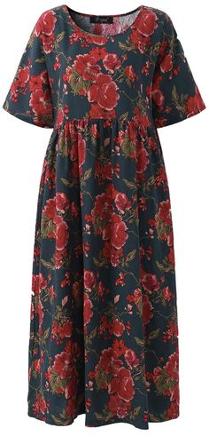 UP TO 47% OFF! Vintage Flower Printed Short Sleeve Maxi Dress For Women. SHOP NOW!