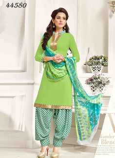 7e91a8b831 Green Colour Crepe Border Lace Work Patiyala Dress Material with Best Price  & Best Quality,Cash on Delivery.