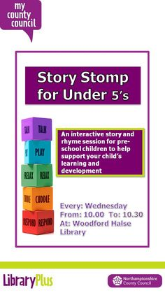 Story stomp for under 5's, interactive story and rhyme session for pre-school children Wednesday 10.00-10.30 Woodford Halse Library