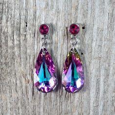 Vitrail Light Swarovski Crystal earrings - Surgical Steel Jewelry by SteelJewelryShop on Etsy