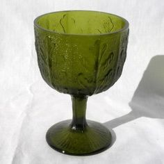 antique green glassware photos | Vintage FTD Green Glass Chalice Vase by MachoMachismo on... | Shop ...