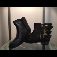 Buccō Booties Buccō faux leather booties // Lightly Used // Size 7.5 // Zip side closure // Small heel // No box Buccō Shoes Ankle Boots & Booties