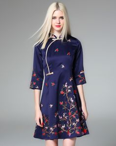 #VIPme ❤ Look for the style we love - Ewheat Navy Blue Floral Embroidery A-line Cheongsam Dress at VIPme.com #Outift