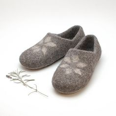 Felted Wool Clogs gray star organic wool house by WoolenClogs, $69.00