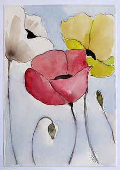 pen and ink watercolor poppies Watercolor Poppies, Watercolor And Ink, Watercolor Paintings, Watercolors, Simple Watercolor Flowers, Silk Painting, Painting & Drawing, Flower Art, Art Drawings