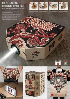 Just Imagine a Pizza Box That Turns into a Film Projector. http://illusion.scene360.com/design/81397/pizza-box-projector/